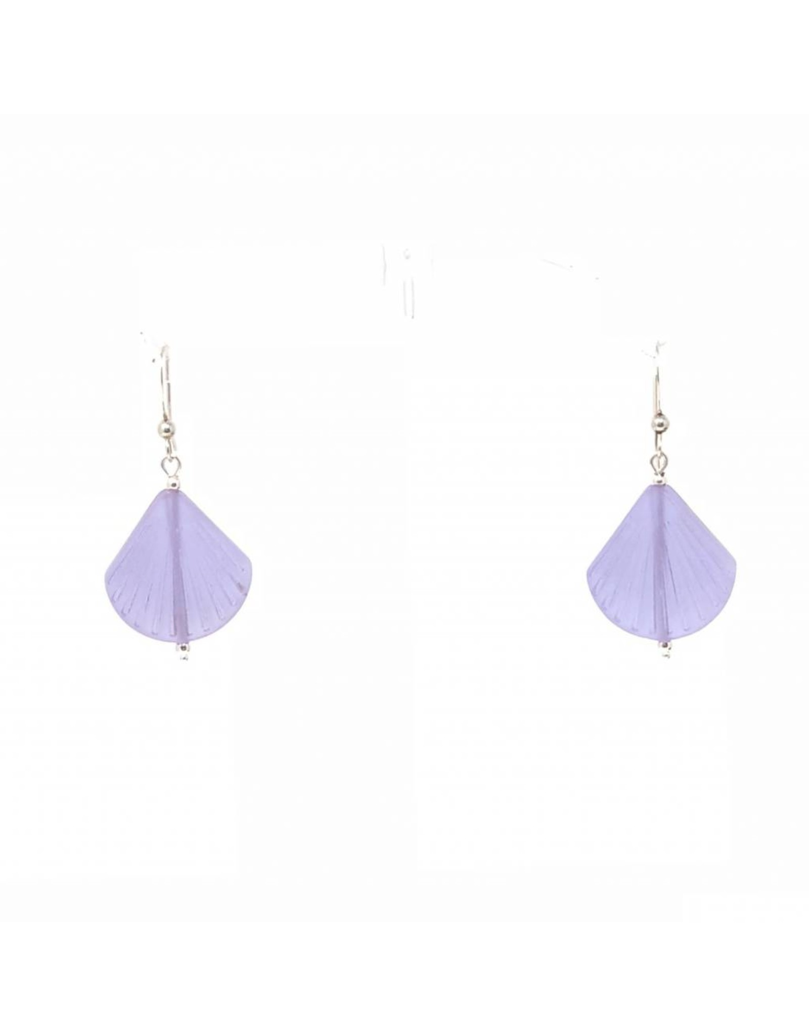 Sea Glass Shell Earrings, Violet