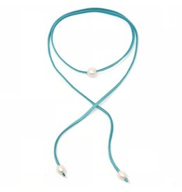 FWP Choker on Teal Suede, Pearl Ends
