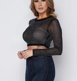 1640 Starry Starry Night Crop Top Black