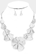 372563 Geo Flowers Necklace Silver