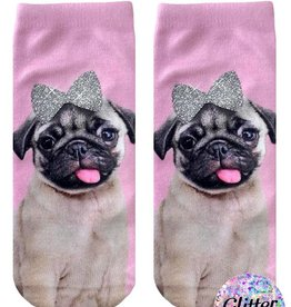 living royal 101 Glitter Pug Ankle Socks