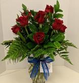 Valentine Floral Bouquet: DOZEN ROSES (Vased) - 12 stems