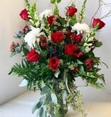 Valentine Floral Bouquet: DELIGHT (Vased) - approx 34 stems