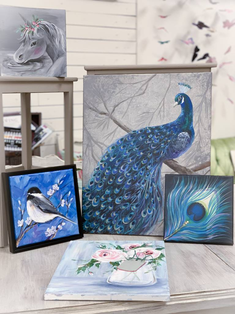 Large Peacock Canvas: Saturday, April 6th 10:30am-1:30pm