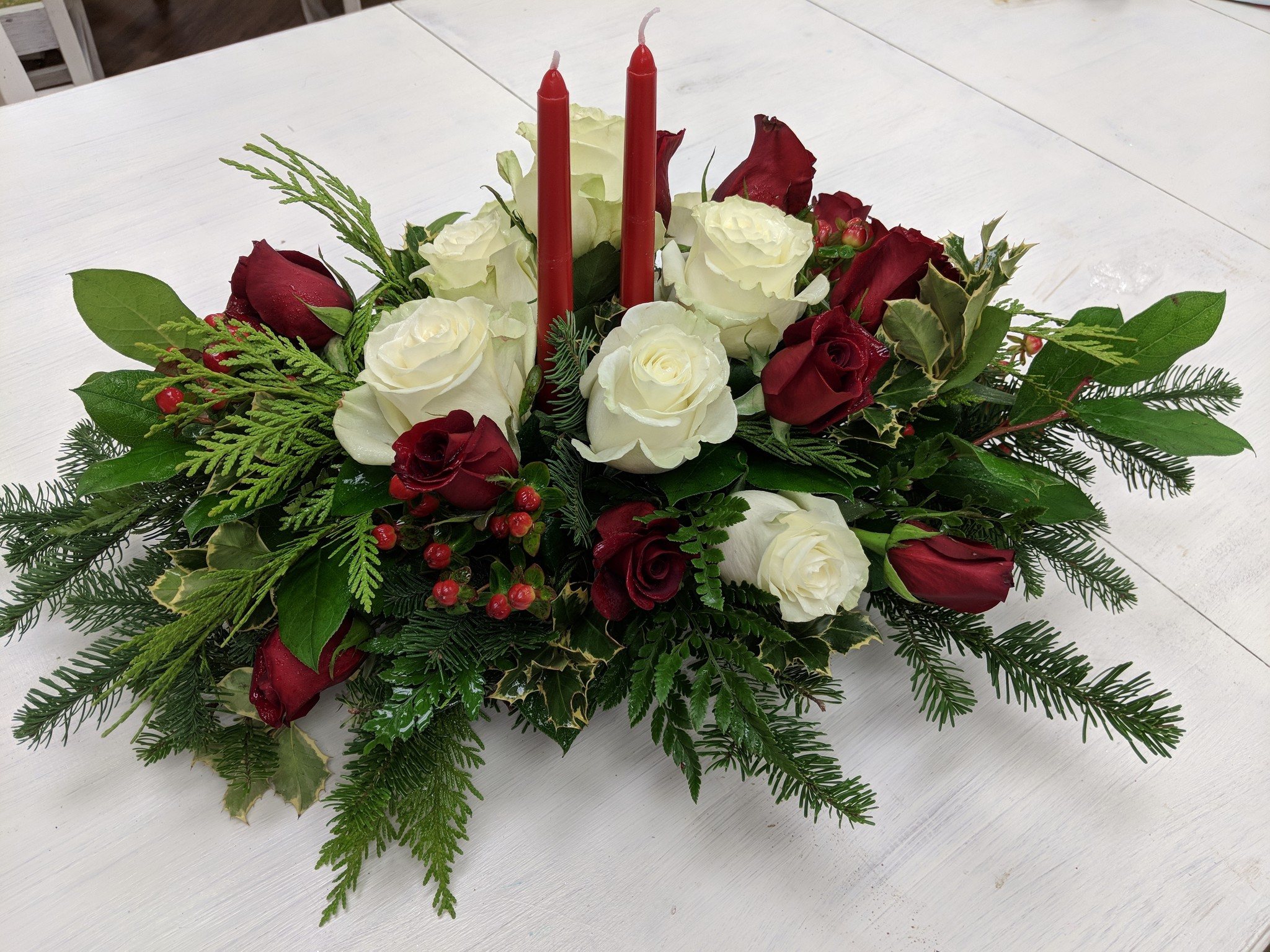 Traditional Holiday Arrangement  with Candles