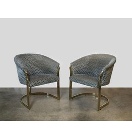 MIlo Baughman Style Cantilevered Brass Club Chairs
