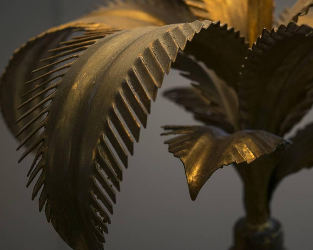 Hollywood Regency Gilded Palm Floor Lamp