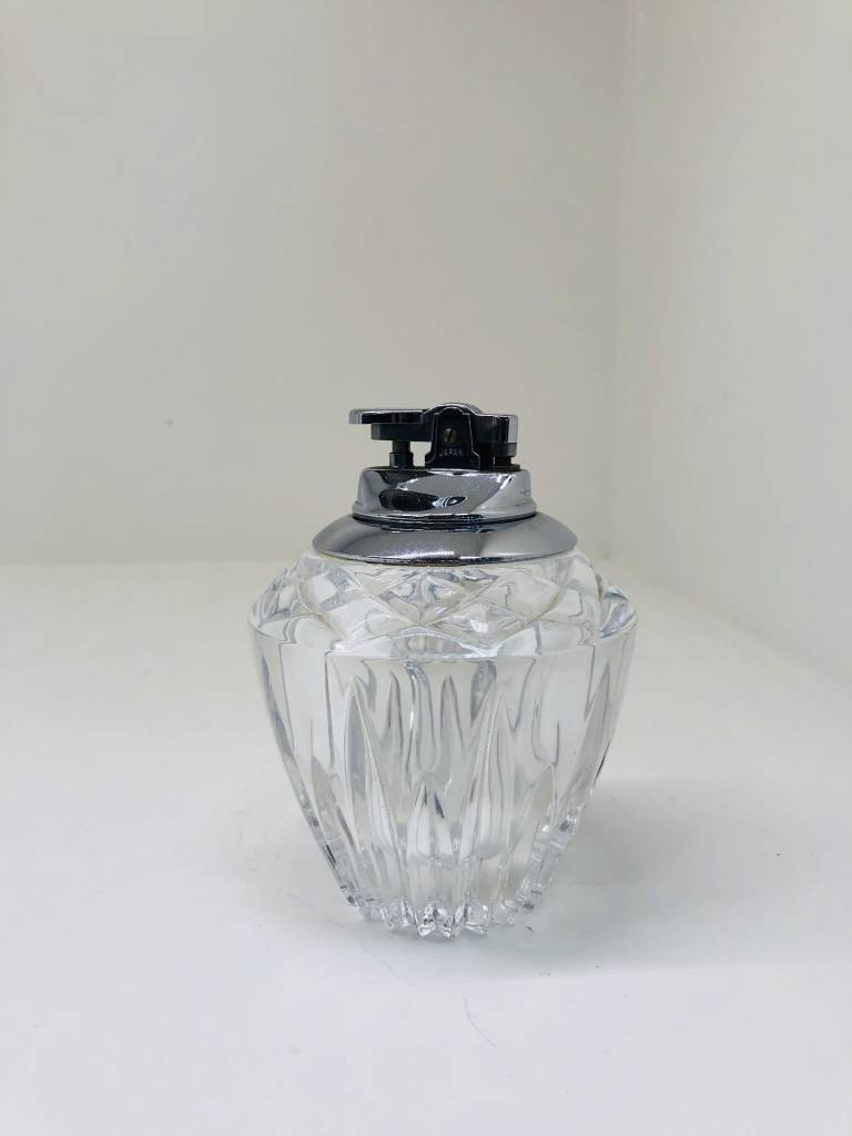 Mid-Century Cut Lead Crystal Chrome Table Lighter