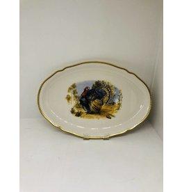 Mid-Century Gold Rim Turkey Platter