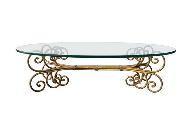 Hollywood Regency Gilded Gold Scroll Oval Coffee Table