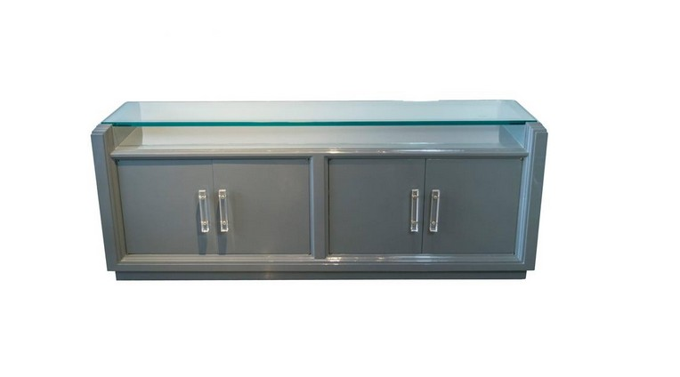 Grey Lacquered Credenza with Lucite Pulls in the Style of Karl Springer