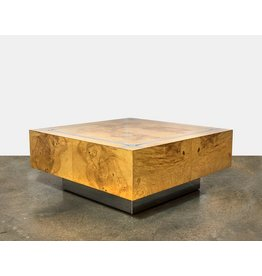 Milo Baughman Burl Wood & Chrome Square Coffee Table