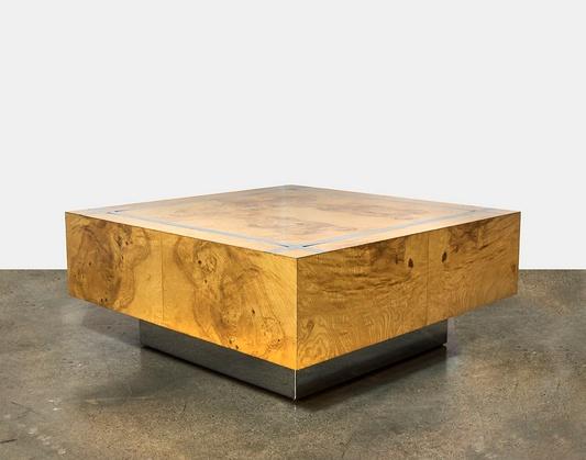 Milo Baughman Burl Wood Chrome Square Coffee Table Feliz