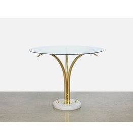 Mid Century French Brass & Marble Palm Table by Maison Jansen