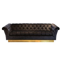 Hollywood Regency Chesterfield in Black Velvet w/ Brass Vase