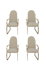 Set of 4 Brass High Back Dining Chairs in the Style of Milo Baughman