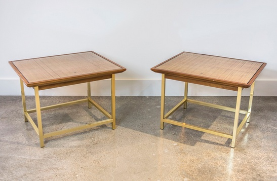 Brass, Cane & Walnut End Tables by Kipp Stewart for Drexel