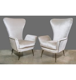 PAIR: Paolo Buffa High Back Arm Chairs 1950s
