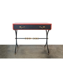 Wrought Iron, Brass, & Leather Secretary Desk by Mallin Furniture