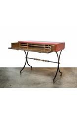 Wrought Iron, Brass, & Leather Secretary Desk by Mallin Furniture