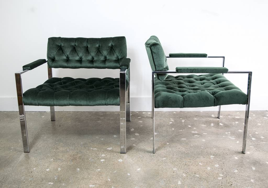 PAIR: Milo Baughman Flat Bar Tufted Chairs