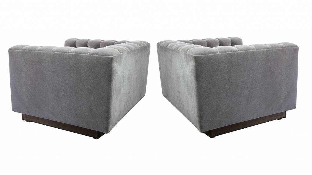 Milo Baughman Tufted Lounge Chairs