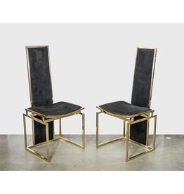 Set of 4 Willy Rizzo Italian High Back Dining Chairs