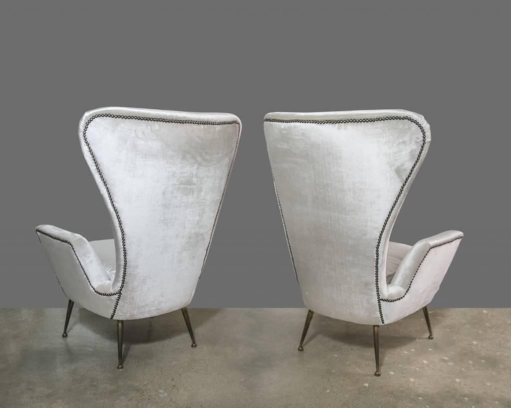 PAIR: Paolo Buffa High Back Arm Chairs 1950s