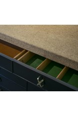 Paul Frank Ebonized Cork Top Credenza Buffet with Exquisite Brass Hardware