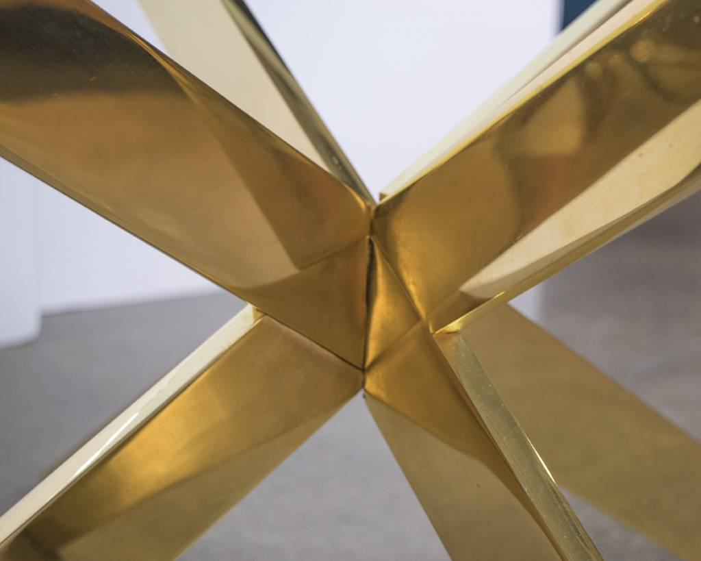 Double X Base Brass Coffee Table by Leon Rosen for Pace Collection