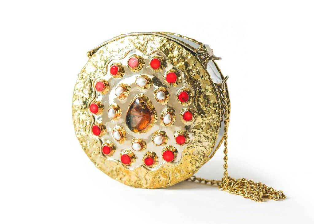Brass and Red Stone Purse