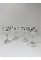 Mid-Century Set of 4 Black & Gold Snowflake Stemmed Glasses