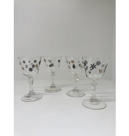 Mid-Century Set of 4 Black & Gold Snowflake Stemmed Glasses