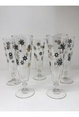 Vintage Set of 5 Black & Gold Snowflake Pilsner Glasses
