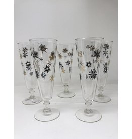 Vintage Set of 5 Black & Gold Snowflake Pilsner Glasses