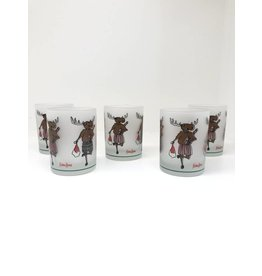 Set of 5 Vintage Neiman Marcus Christmas Moose Glasses
