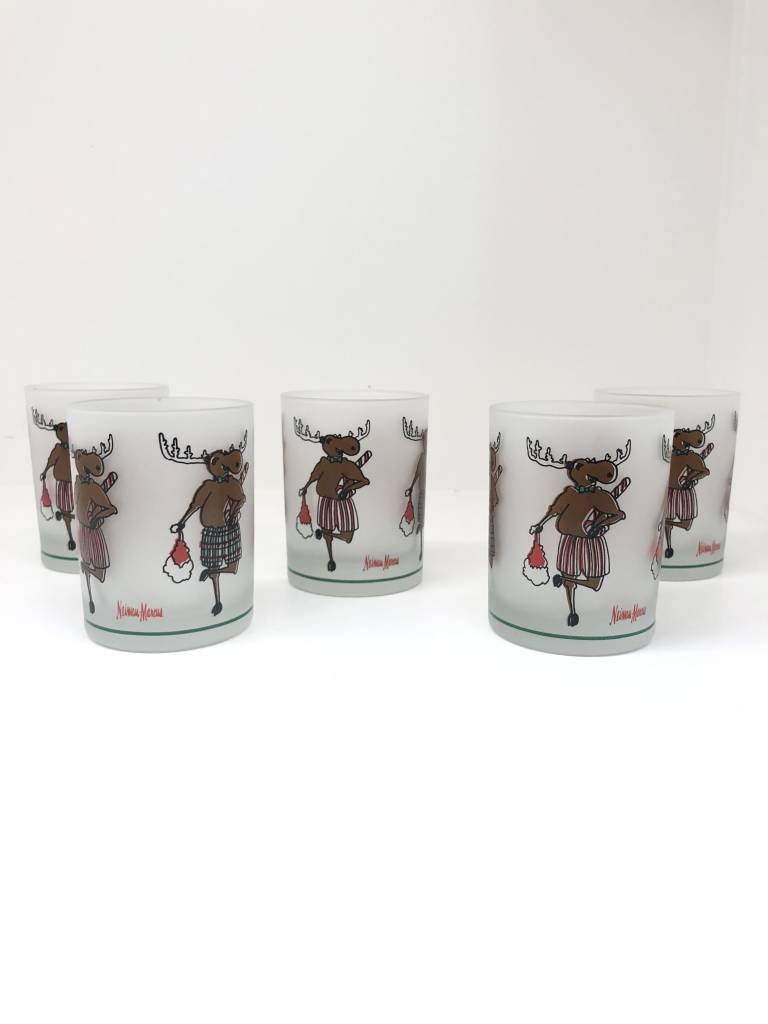 Set of 5 Vintage Neiman Marcus Christmas Moose Glasses