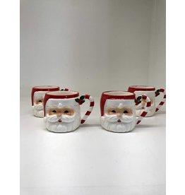 Set of 4 Ceramic Santa Mugs