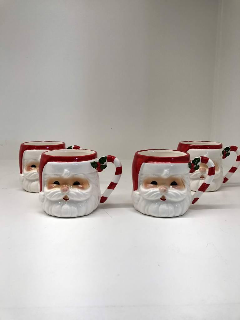 Set of 4 Ceramic Santa Mugs