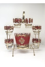 MCM Starlyte Carousel Caddy w/ 6 Red Low Ball Glasses & Bucket