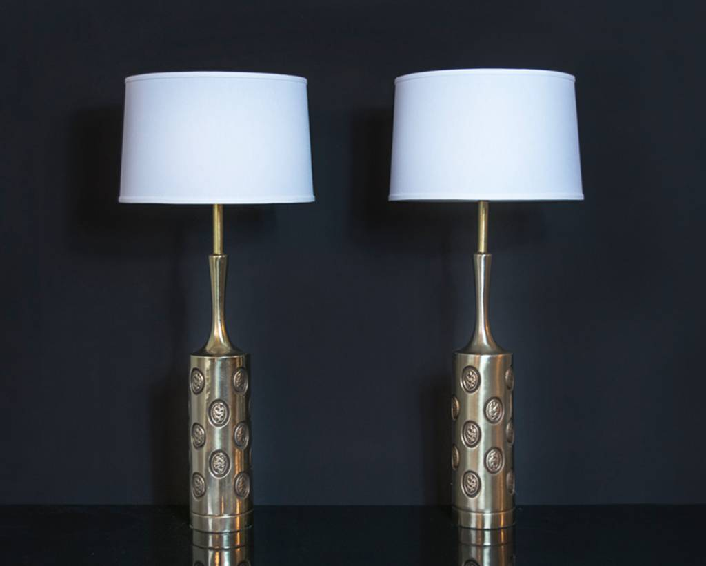 Pair of Tall Brass Rembrandt Coin Lamps