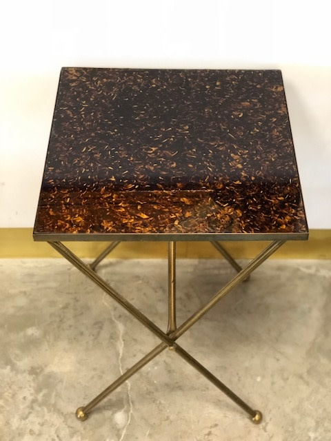 Mid Century Modern End Table with Brass & Glass Top