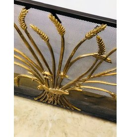 Mid Century Wheat Sheaf Brass & Metal Fire Screen
