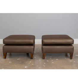 PAIR: Faux Shagreen Mid Century Ottomans in the Style of John Stuart