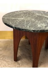 Mid Century Black Marble Top End Table