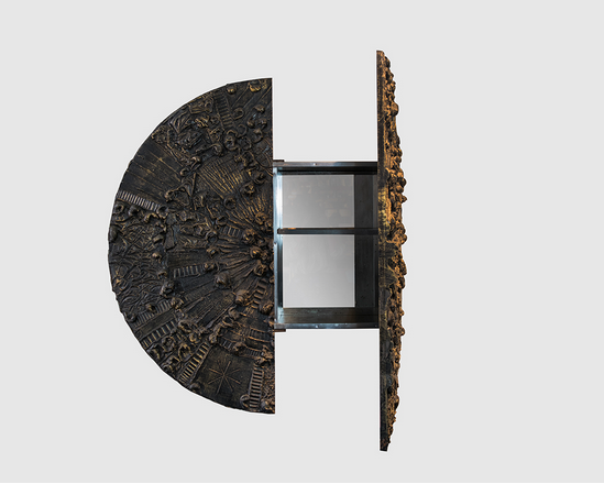 Bronze Brutalist Disc Bar in the Style of Paul Evans