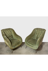 Pair of Mid Century Italian Arflex Chairs with Brass Legs in Style of Gio Ponti