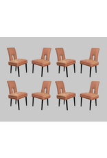 Set of 8 Keyhole Dining Chairs in the Style of James Mont