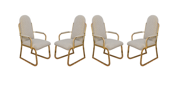 Four Brass High Back Dining Chairs