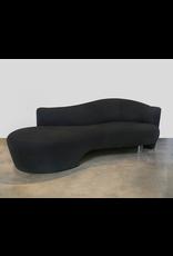Vladimir Kagan Black Serpentine Sofa with Lucite Leg
